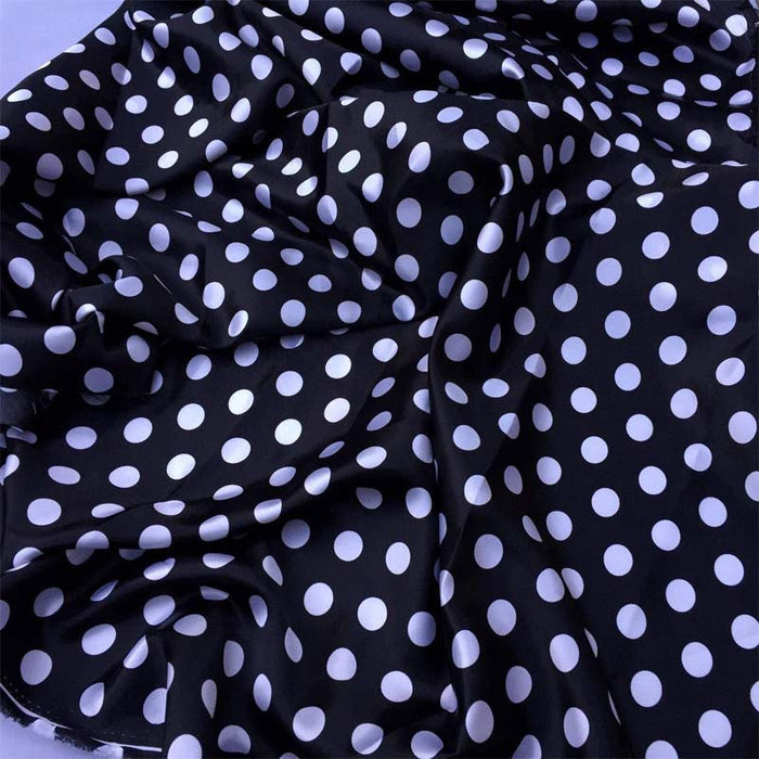 Black/white - 1/2inch Polka Dot Silky/Soft Charmeuse Satin Fabric - ICE FABRICS