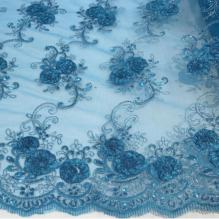 Turquoise - Embroidered Mesh Lace Flower Design With Sequins Fabric - IceFabrics