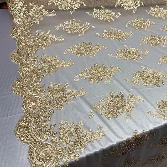 Gold - French Design Floral Mesh Lace Embroidery Fabric - IceFabrics