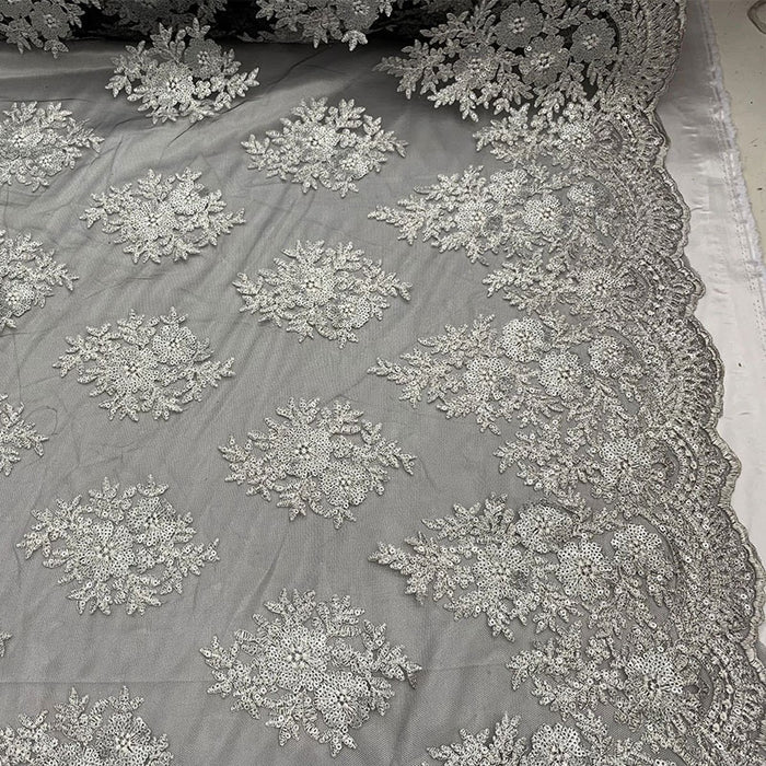 Black/White - Embroidered Corded Metallic Flowers On Mesh Lace Fabric With Sequins - IceFabrics
