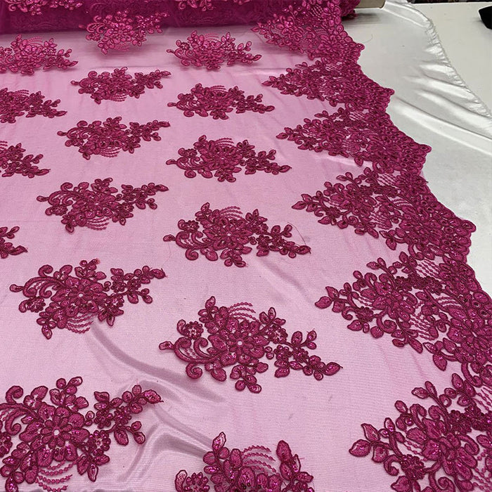 Fuchsia - Embroidered Mesh lace Floral Design Fabric With Sequins By The Yard - IceFabrics