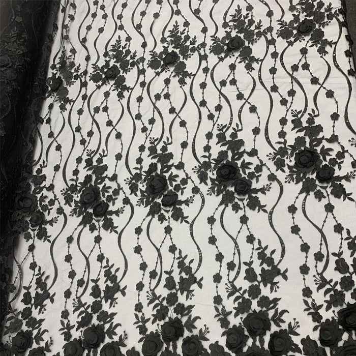Black - Luxury Design Embroidered Fashion Modern 3D Flowers Handmade Mesh Lace Fabric By The Yard - ICE FABRICS