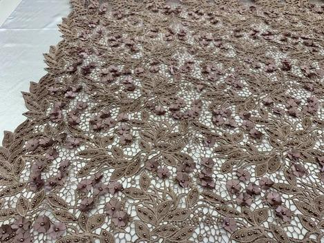 Coffee - Double 3D Flowers Beaded Lace By The Yard/Embroider Heavy Beaded Guipur Lace Fabric// Floral Flower Bridal Lace/Wedding Lace/Gowns - IceFabrics