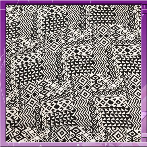 100% Rayon Challis Geometric African Print Soft N Flowy Faric 58 Inches Wide Sold by the Yard Black / White for Wedding, Tablecloth, Crafts - ICE FABRICS