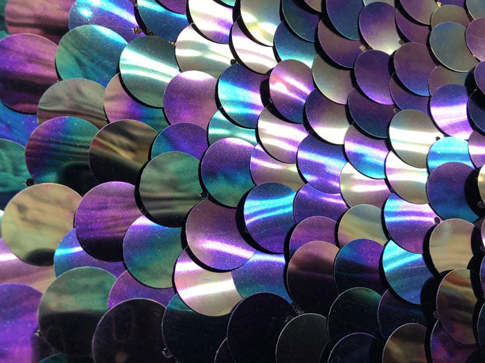 Silver - Iridescent Circle Sequins Hologram Fabric Multi Color Fabric Sold By The Yard - IceFabrics