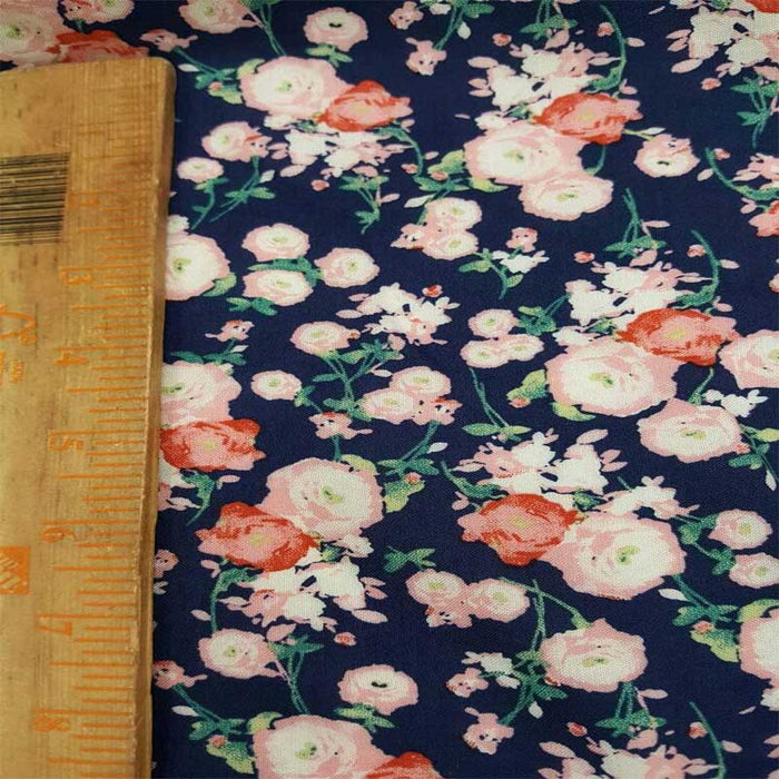 Rayon challis pink small flower print on navy blue background Fabric by the yard 58 inches wide fabric soft organic fabric kids dress - IceFabrics