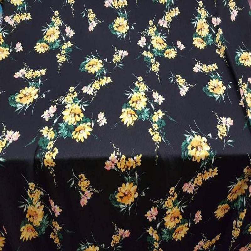 Rayon. Gorgeous yellow floral flowers black background 58-60 inches wide fabric sold by the yard soft organic kids dress draping clothing - IceFabrics