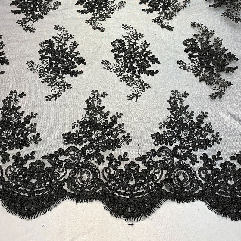 Black - French Design Floral Mesh Lace Embroidery Fabric - IceFabrics
