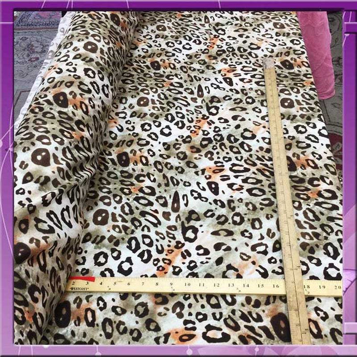 Rayon challis Gorgeous animal cheetah print Fabric sold by the yard 58 inches wide soft organic fabric kids dress flowy rayon ligth weight - IceFabrics