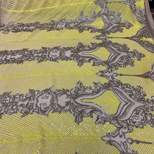 Yellow&Champagne on Nude Mesh - New Fashion Embroidery 4 Way Stretch Sequins Spandex Mesh - ICE FABRICS
