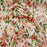 Rayon crepon textured floral flowers Coral and green on pink background organic fabric sold by the yard soft organic kids dress draping - IceFabrics
