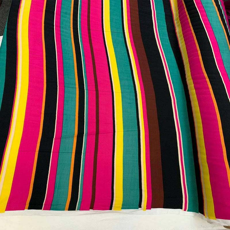 Rayon challis striped print fuchsia yellow green colorful multicolor fabric sold by the yard flowy dress soft organic fabric kids dress - IceFabrics