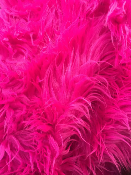 Fur Coats, Fur Clothing, Blankets, Bed Spreads, Throw Blankets Fake Fur Solid Mongolian Long Pile Fabric / Fuchsia / Sold By The Yard - IceFabrics