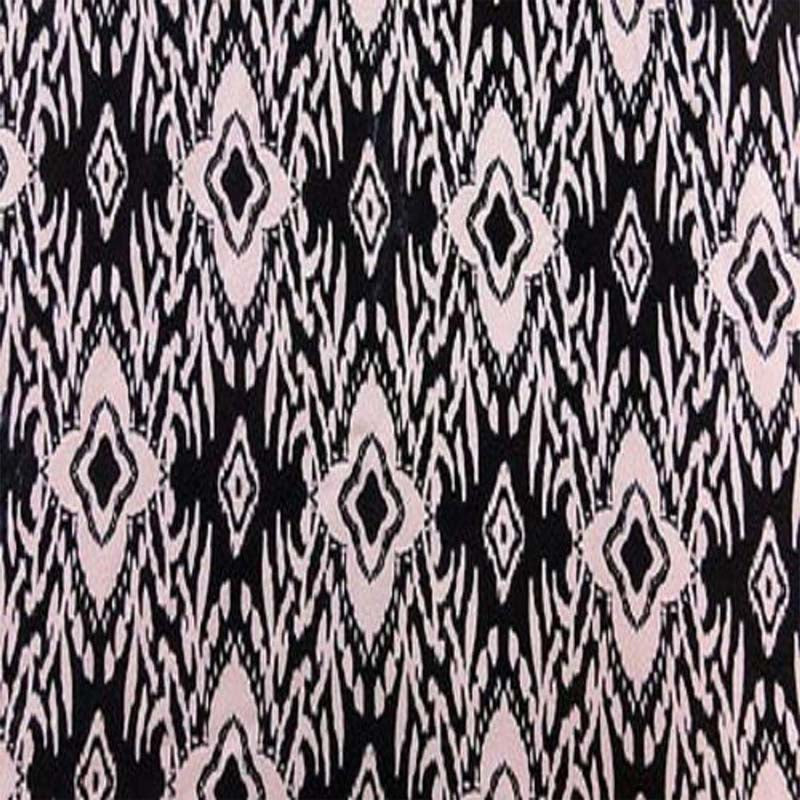100% Rayon with Black Background & Beige Print Fabric by the yard - IceFabrics