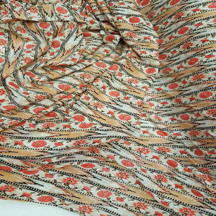 Rayon challis coral peach floral flowers black and off white fabric sold by the yard small flowers draping decoration clothing dress flowy - IceFabrics