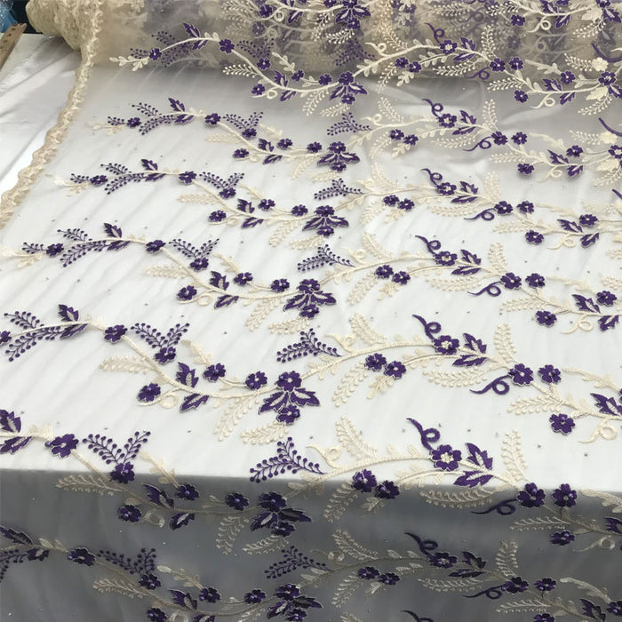 Purple Flower Design Prom Bridal Fabric Embroidered Mesh Lace - IceFabrics