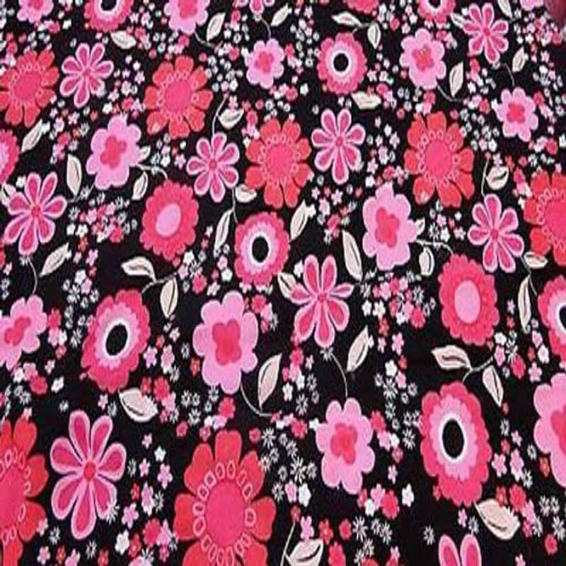 100% Rayon Challis Floral, 70's inspired Print Fabric by the yard - IceFabrics