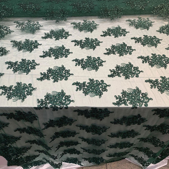 Hunter Green - Embroidered Mesh lace Floral Design Fabric With Sequins By The Yard - IceFabrics