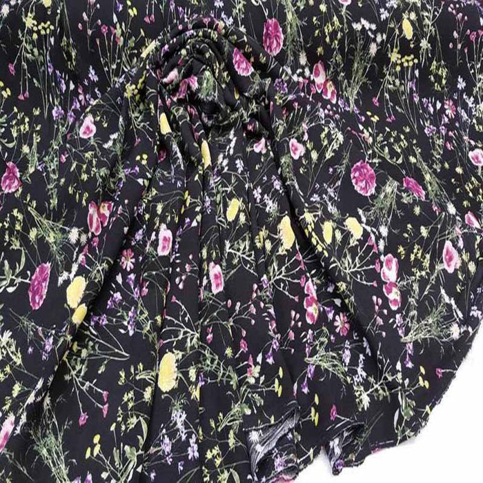 Rayon challis black background floral flowers W white n pink purple green floral soft organic kids dress draping clothing decoration - IceFabrics