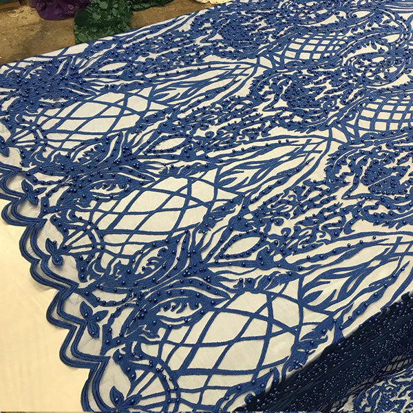 Royal Blue - Multi Color Design Embroidered Beaded Lace Fabric - IceFabrics
