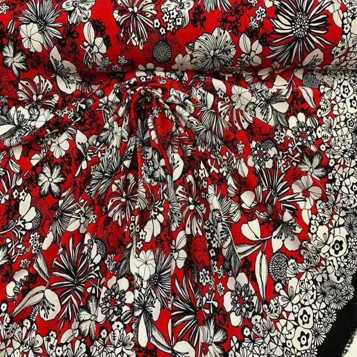 Rayon challis Hawaiian print red n black By the yard 58 inches wide fabric tropical floral flowers white red black kids organic fabric - IceFabrics