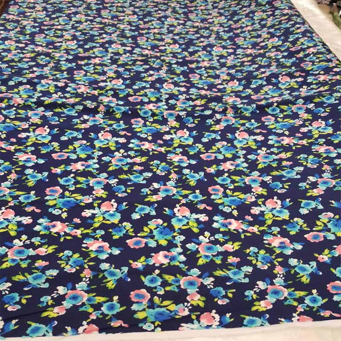 Rayon Challis Navy Blue Background Pink Small Flowers / Floral Print Fabric Sold by the Yard Organic Soft Flowy Kids Dress Draping Clothing - IceFabrics