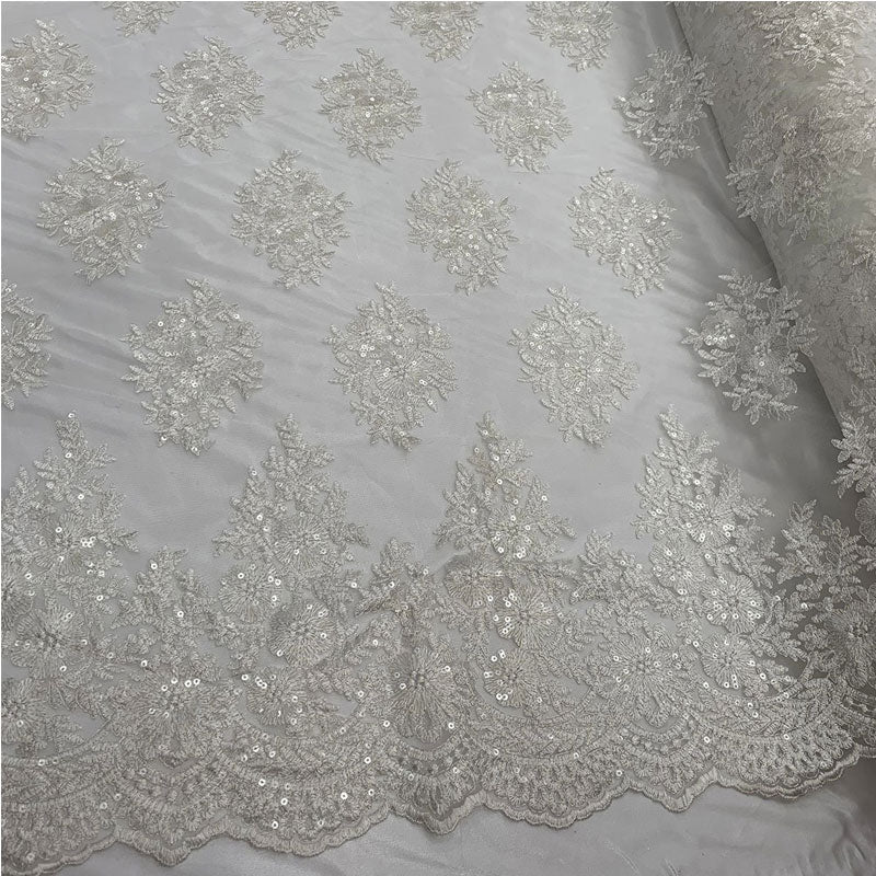 Off White - Embroidered Corded Metallic Flowers On Mesh Lace Fabric With Sequins - IceFabrics