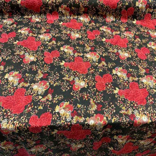 Rayon challis by the yard red floral flowers on brown background very soft and flowy fabric organic kids dress draping clothing decoration - IceFabrics