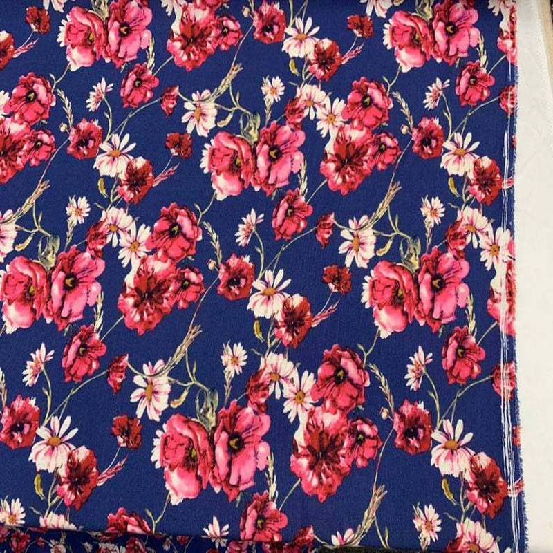 Blue Pink color flowers Fabric - IceFabrics