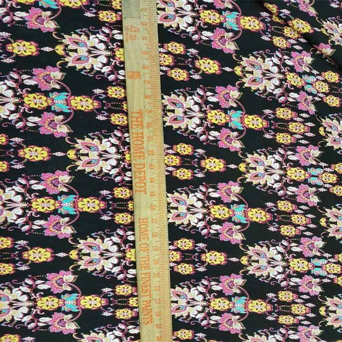 100% Rayon. Chinese Inspired Print with Flower Bouquets. 58-60 Wide. Fabric by the Yard - ICE FABRICS