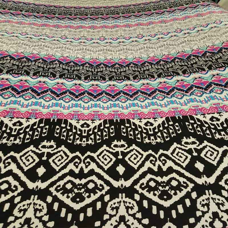 Rayon challis Multicolor geometric american indian pink black white Fabric by the yard soft flowy organic kids dress draping clothing - IceFabrics