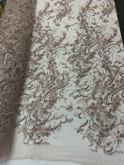 DUSTY ROSE - MINI Flowers/Floral Beaded Fabric By The Yard//Embroidered Mesh Lace with Beads For Wedding Dresses, Prom Dress, Bridal Gowns - IceFabrics