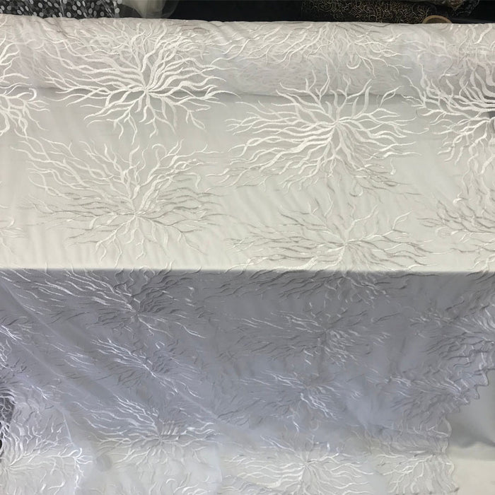 Bridal Wedding Mesh Lace Fabric white Metallic floral Yard dresses tablecloths night gowns Skirts prom dresses wedding dresses decoration - IceFabrics