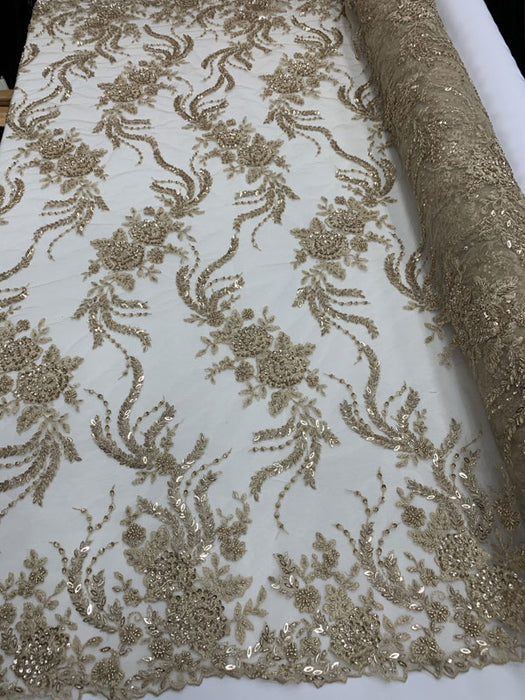CHAMPAGNE MINI Flowers/Floral Beaded Fabric By The Yard//Embroidered Mesh Lace with Beads For Wedding Dresses, Prom Dress, Bridal Gowns - IceFabrics