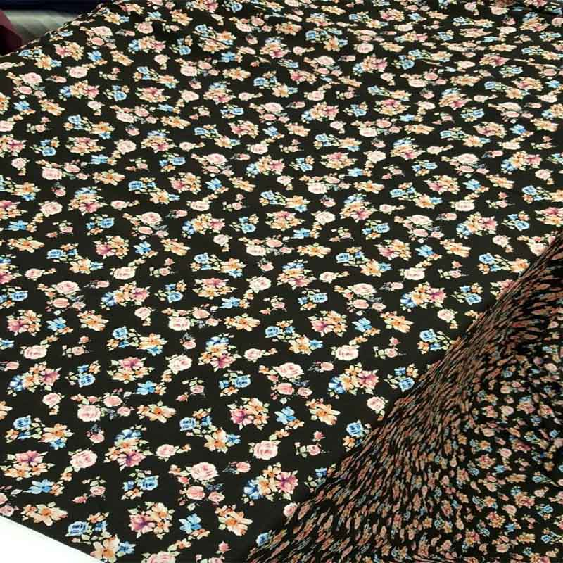 Rayon challis black background w pink blue blush small floral flowers multicolor Fabric by the yard soft organic kids dress flowy - IceFabrics