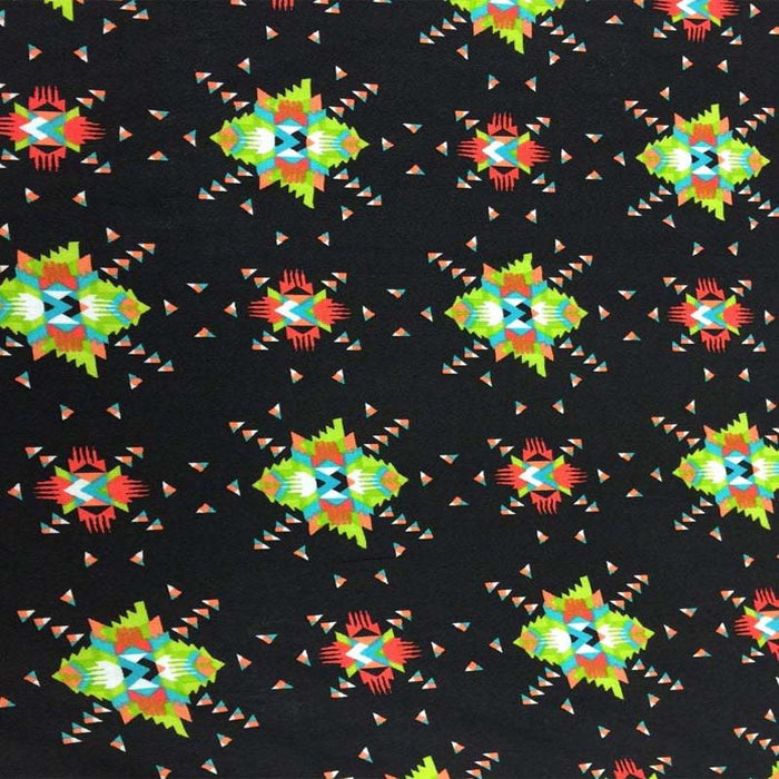 100% rayon challis. Black Native American inspired print. Fabric sold By the yard black green orange - IceFabrics