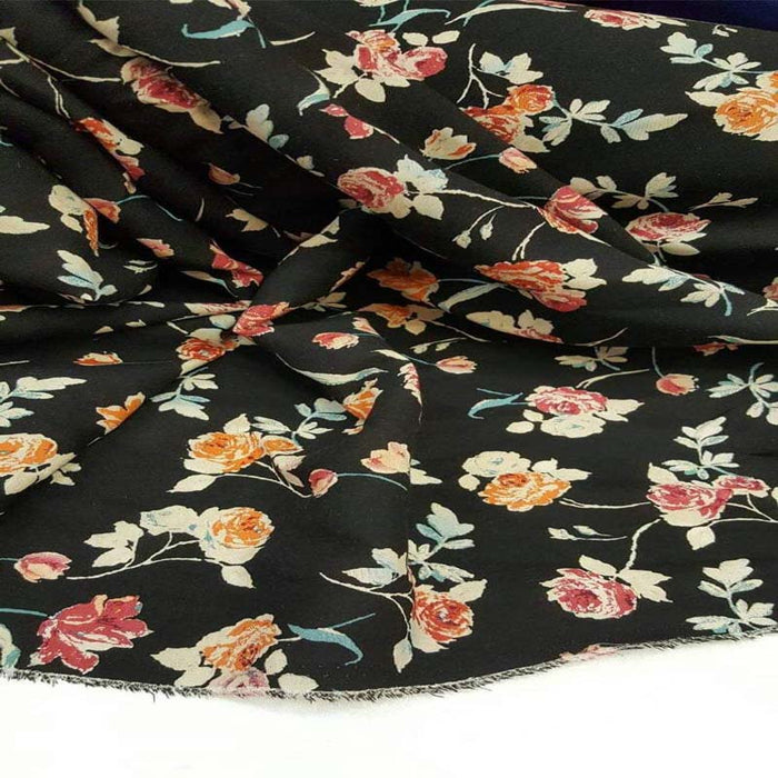 Peach and pink floral flowers clothing decoration - ICE FABRICS