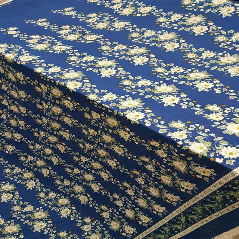 Rayon challis white floral flowers 1 border royal blue background Print Fabric by the yard - IceFabrics