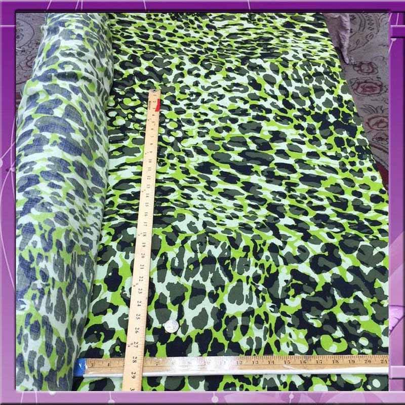 Rayon challis camouflage Green 58 inches wide Fabric by the yard organic soft flowy fabric - IceFabrics