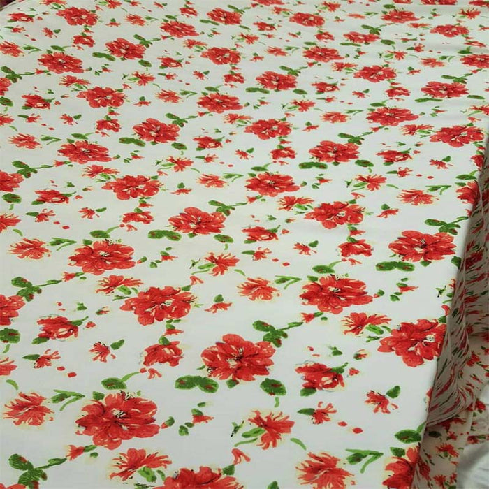 100% rayon challis red and green floral flowers inspired white background Fabric by the yard soft organic kids dress draping clothing flow - IceFabrics