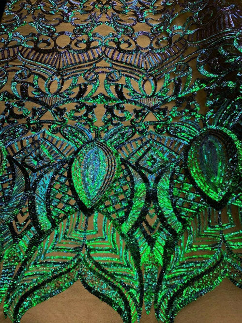 "NEW 4 Way Stretch Sequins Spandex Mesh Lace Fabric by 3 Yard/ Iridescent Green"" - IceFabrics"