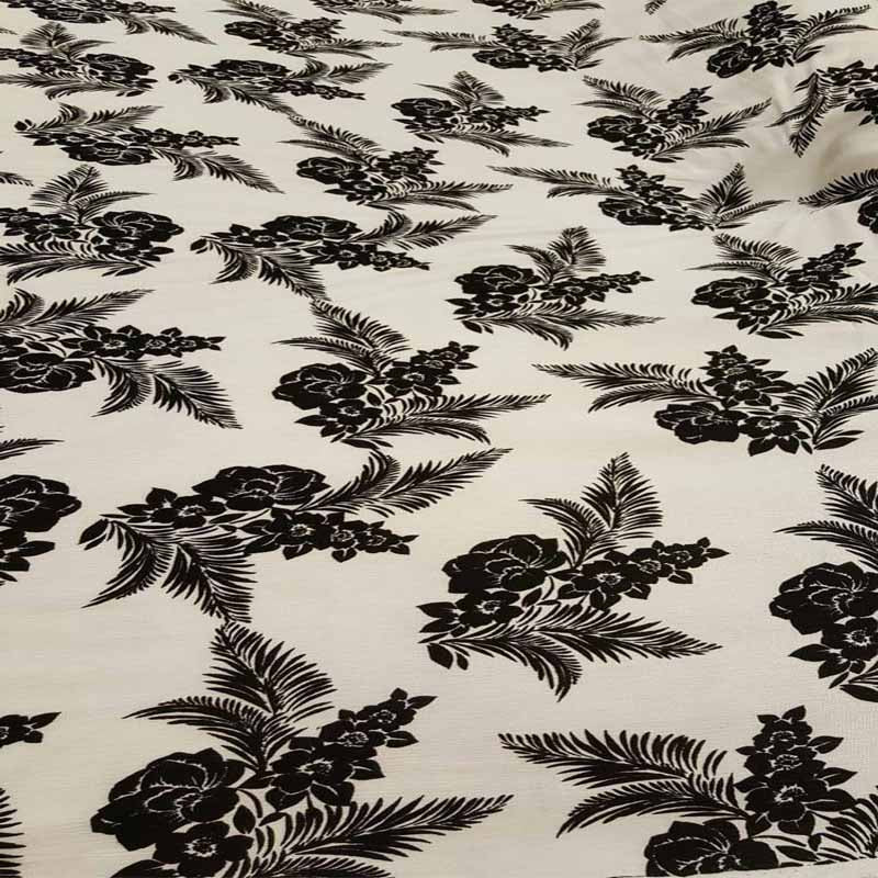 Rayon Challis fabric Black floral flowers tropical Print Fabric by the yard Brown champagne soft flowy organic kids fabric draping clothing - IceFabrics