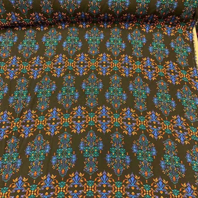 Rayon challis large paisley Boho pattern orange blue and green on black background Fabric by the yard soft flowy organic kids dress draping - IceFabrics
