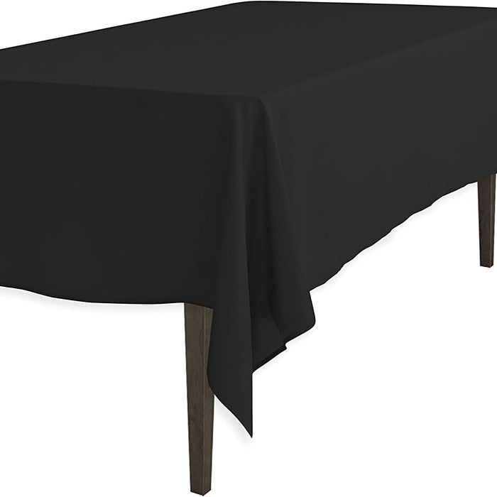 Black Washable Polyester 60 x 60 Inch Square Tablecloth - IceFabrics