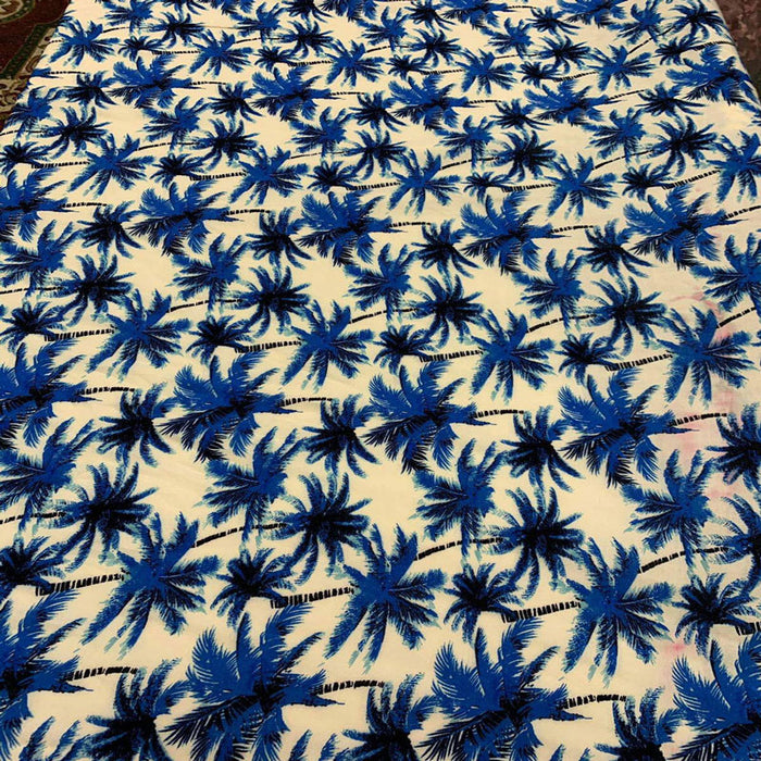 Blue - 100% Rayon chally with off white background and palmtrees tropical fabric sold by the yard clothing dress decoration organic kids - IceFabrics