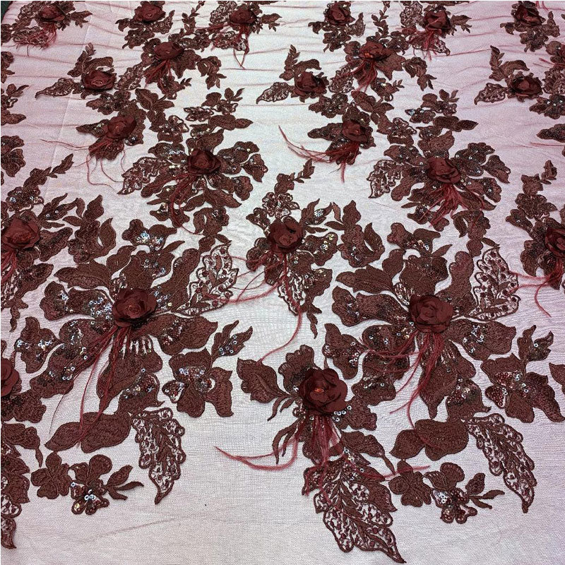 Burgundy - 3D Luxury Feather Design Floral Mesh Lace With Sequins Embroidery By The Yard - ICE FABRICS
