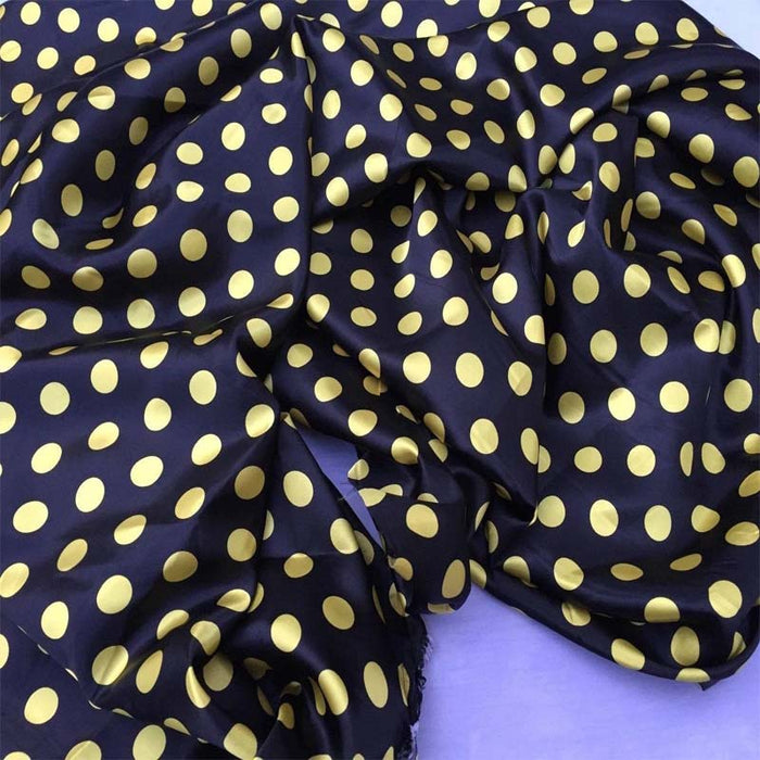 Black/yellow - 1/2inch Polka Dot Silky/Soft Charmeuse Satin Fabric - ICE FABRICS