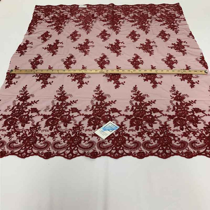 Burgundy - Embroidered Bridal Fabric Mesh Lace Floral Flowers Fabric Sold by the Yard - IceFabrics
