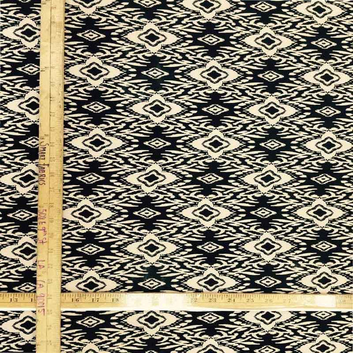 100% rayon challis beige n black geometrical pattern Fabric by the yard soft organic kids dress draping clothing decoration flowy - IceFabrics