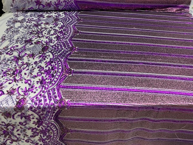 Purple - Elegant NEW Casino Design//Fabric Embroidery Sequins 4 Way Stretch Nude Mesh Spandex//Stretchy Spandex Sequins Fabric By Yard - IceFabrics